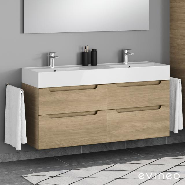 Scarabeo Teorema 2.0 double washbasin Evineo ineo5 vanity unit with 4 pull-out compartments, with recessed handles front oak / corpus oak, WB white, with BIO System coating