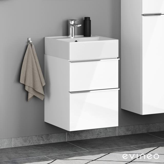 Scarabeo Teorema 2.0 hand washbasin with Evineo ineo4 vanity unit with 2 pull-out compartments, with handles front white high gloss / corpus white high gloss, WB white, with BIO System coating