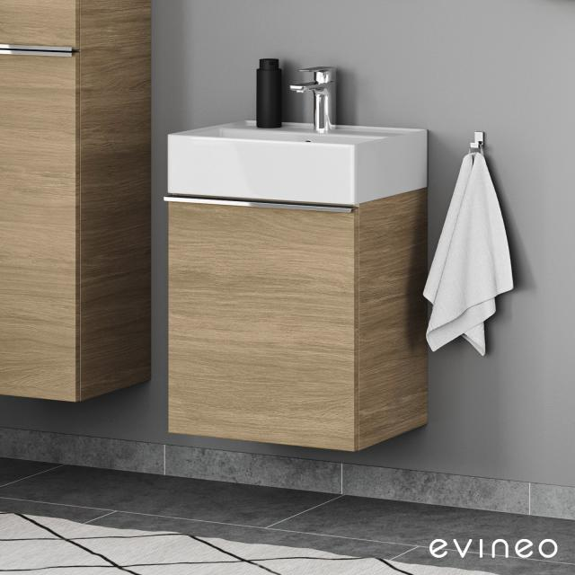 Scarabeo Teorema 2.0 hand washbasin with Evineo ineo4 vanity unit with 1 pull-out compartment, with handle front oak / corpus oak, WB white, with BIO System coating