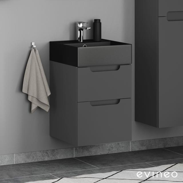 Scarabeo Teorema 2.0 hand washbasin Evineo ineo5 vanity unit with 2 pull-out compartments, with recessed handles front matt anthracite / corpus matt anthracite, WB matt black, with BIO System coating