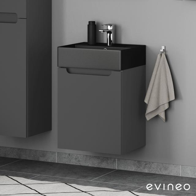 Scarabeo Teorema 2.0 hand washbasin with Evineo ineo5 vanity unit with 1 pull-out compartment, with recessed handle front matt anthracite / corpus matt anthracite, WB matt black, with BIO System coating