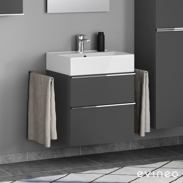 Scarabeo Teorema 2.0 washbasin with Evineo ineo4 vanity unit with 2 pull-out compartments, with handles front matt anthracite / corpus matt anthracite, WB white, with BIO System coating
