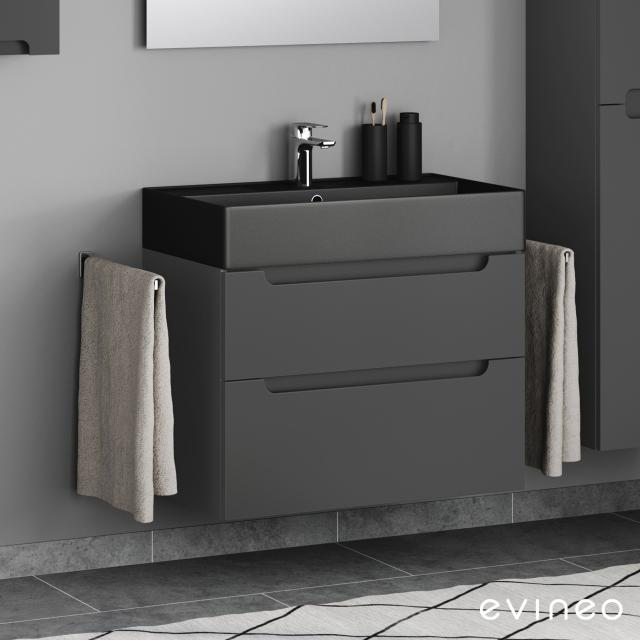 Scarabeo Teorema 2.0 washbasin Evineo ineo5 vanity unit with 2 pull-out compartments, with recessed handles front matt anthracite / corpus matt anthracite, WB matt black, with BIO System coating