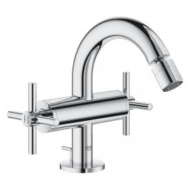 Grohe Atrio two handle bidet fitting with waste set chrome