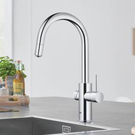 Grohe Blue Home the NEW kitchen fitting with filter function, C spout extendable chrome