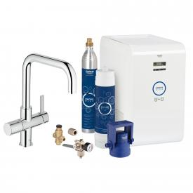 Grohe Blue Professional Starter Kit with single lever kitchen mixer, U-spout chrome