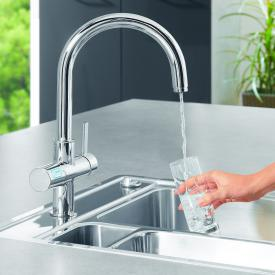 Grohe Blue Pure kitchen fitting with filter function, C spout chrome