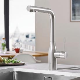 Grohe Essence kitchen mixer with retractable dual rinsing spray supersteel
