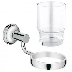 Grohe Essentials Authentic bathroom set, crystal tumbler and holder chrome