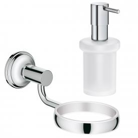 Grohe Essentials Authentic bathroom set, soap dispenser and holder chrome