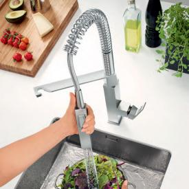 Grohe Eurocube single lever kitchen mixer with professional spray supersteel