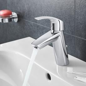 Grohe Eurosmart single lever basin mixer, M-Size with pop-up waste set