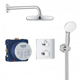 Grohe Grohtherm concealed shower system, square with Tempesta 210 overhead shower
