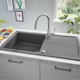 Grohe K400 reversible, built-in sink with drainer granite grey