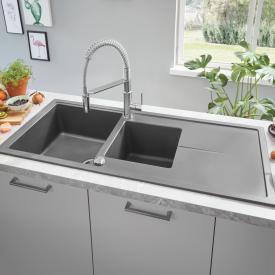 Grohe K400 reversible, built-in sink with drainer granite grey