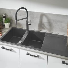 Grohe K500 reversible, built-in sink with drainer granite grey