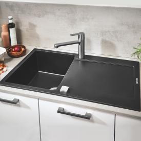Grohe K500 reversible, built-in sink with drainer granite black