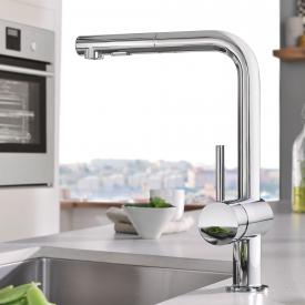 Grohe Minta kitchen fitting with pull-out dual spray chrome
