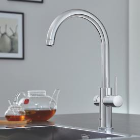 Grohe Red the NEW kitchen fitting with filter function for boiling hot water, C-shaped spout chrome