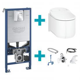 NOUVEAU WC-lavant suspendu Grohe Sensia Arena pour réservoirs de chasse encastrés, montage mural, avec abattant blanc, avec équipement et set d'installation