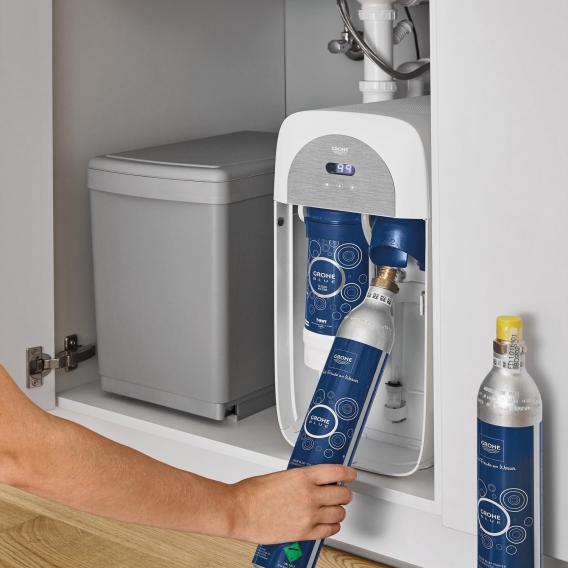 Grohe Blue Home the NEW kitchen fitting with filter function, L spout extendable chrome
