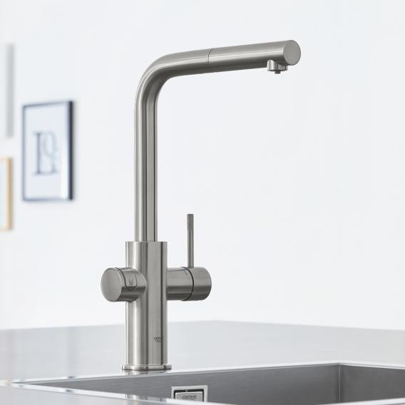 Grohe Blue Home the NEW kitchen fitting with filter function, L spout extendable supersteel