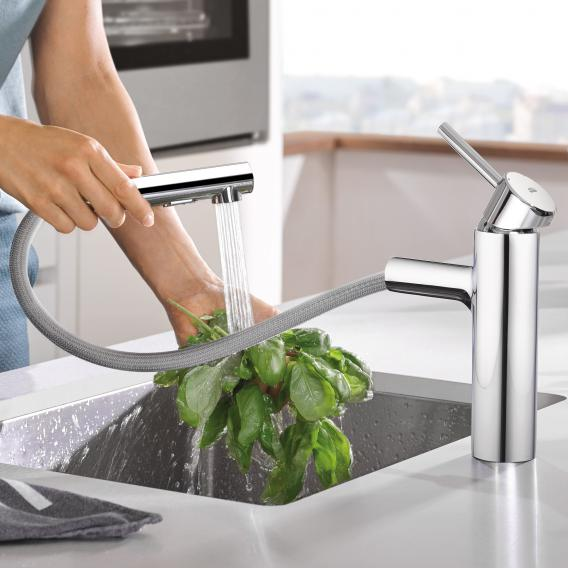 Grohe Concetto kitchen mixer with pull-out spray chrome