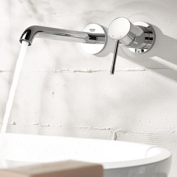 Grohe Essence wall-mounted, two hole basin mixer projection: 183 mm, chrome