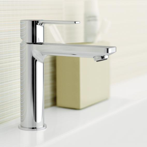 Grohe Lineare single lever basin mixer, S-Size with push-open waste valve, chrome - 23106001