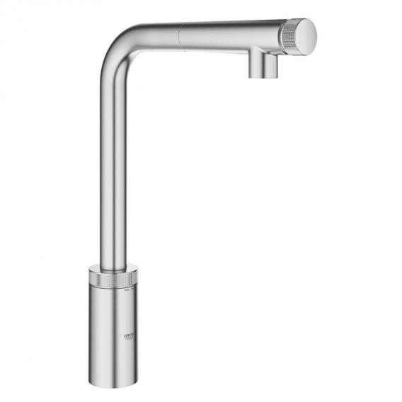 Grohe Minta SmartControl kitchen fitting with pull-out spout supersteel