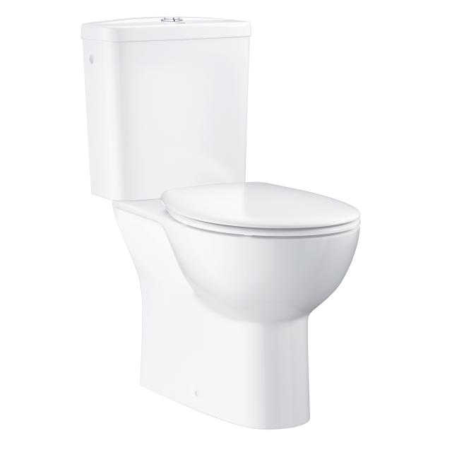 Grohe Bau Ceramic floorstanding close-coupled washdown toilet, vertical outlet, with toilet seat
