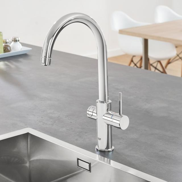 Grohe Blue Home the NEW kitchen fitting with filter function, C spout chrome