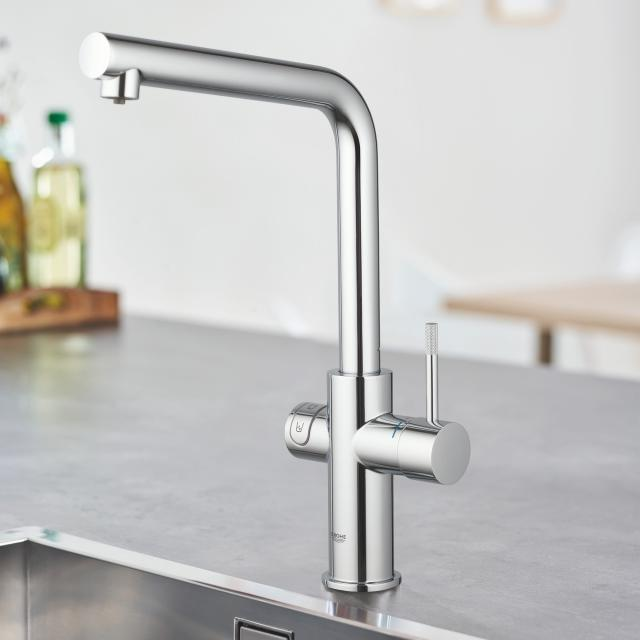 Grohe Blue Home the NEW kitchen fitting with filter function, L spout chrome