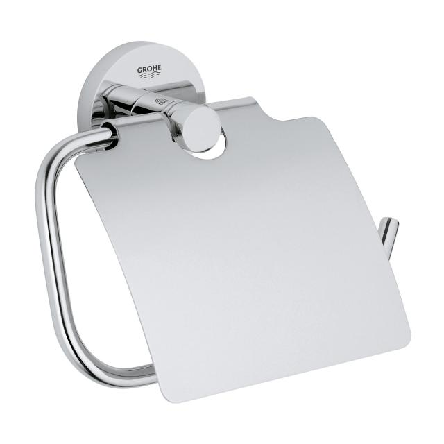 Grohe Essentials toilet roll holder with cover chrome