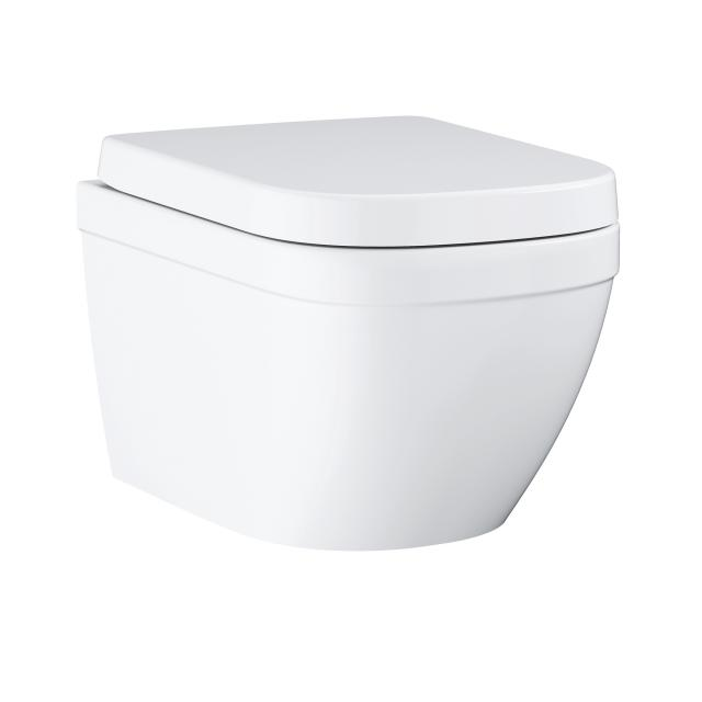 Grohe Euro Ceramic Compact wall-mounted washdown toilet set, with toilet seat white, with PureGuard hygiene coating