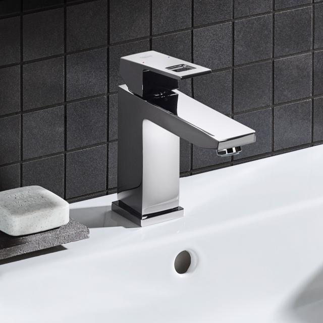 Grohe Eurocube single lever basin mixer, M-Size with pop-up waste set