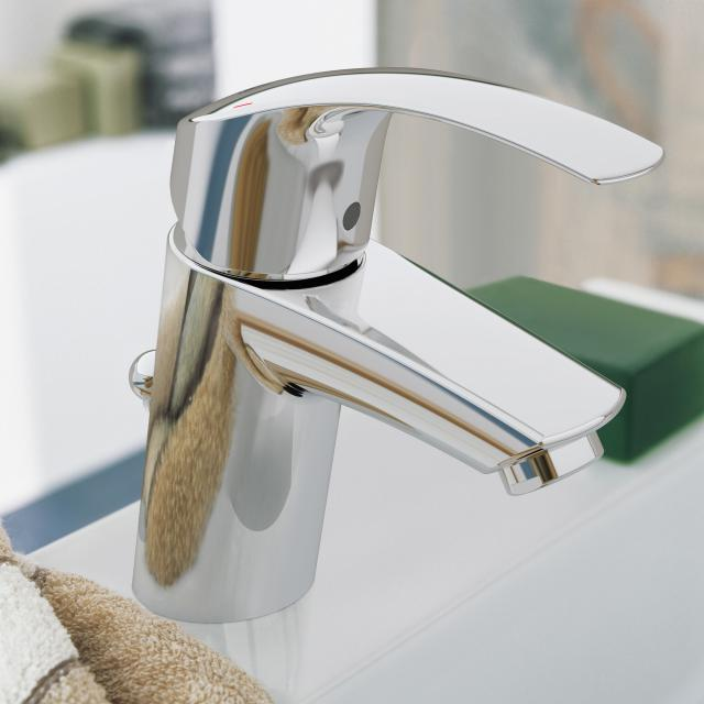 Grohe Eurosmart single lever basin mixer, S-Size with pop-up waste set