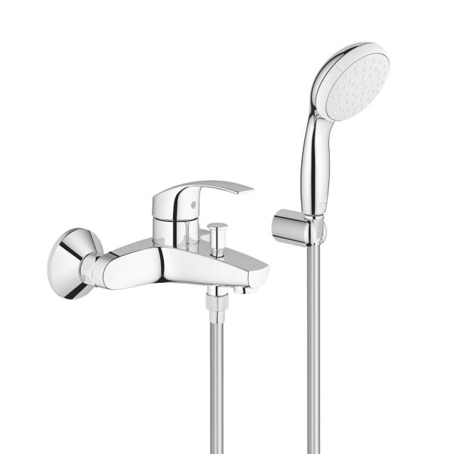 Grohe Eurosmart single lever bath mixer, with shower set, wall-mounted