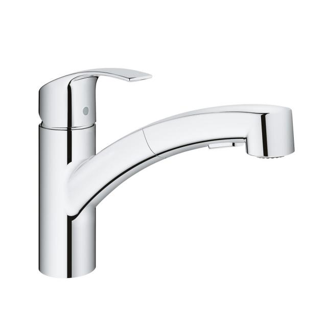 Grohe Eurosmart single lever kitchen mixer with pull-out spray crhome