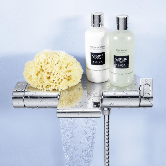 """Grohe Grohtherm 2000 thermostatic bath mixer, 1/2"""" wall-mounted with shelf surface"""