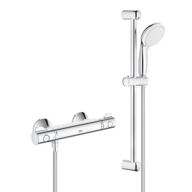 Grohe Grohtherm 800 thermostatic shower mixer with shower set 600, wall-mounted H: 620 mm