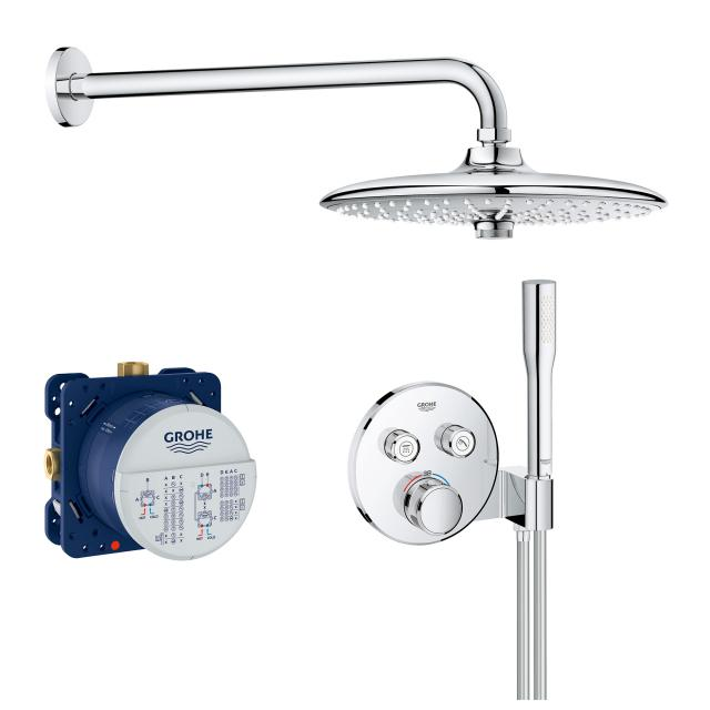 Grohe Grohtherm SmartControl shower system with thermostat & Euphoria 260 SmartControl overhead shower