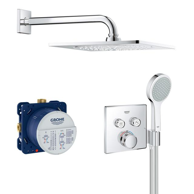"""Grohe Grohtherm SmartControl shower system with thermostat & Rainshower F-Series 10"""" overhead shower"""