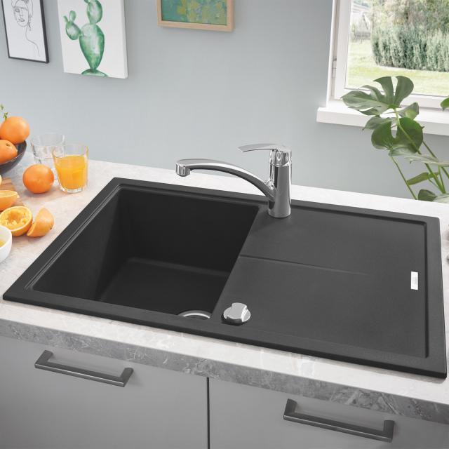 Grohe K400 reversible, built-in sink with drainer granite black