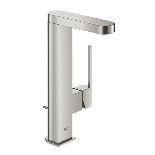 Grohe Plus single lever basin mixer L Size supersteel, with pop-up waste set