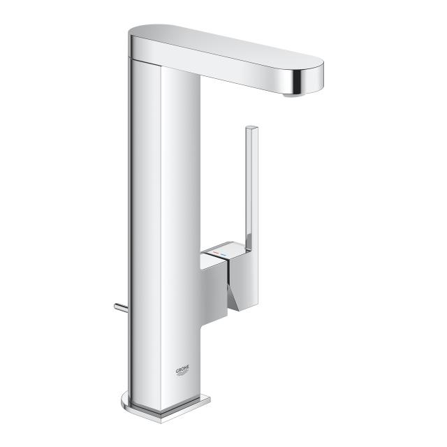 Grohe Plus single lever basin mixer L Size, with pull-out spout chrome, with push-open waste valve