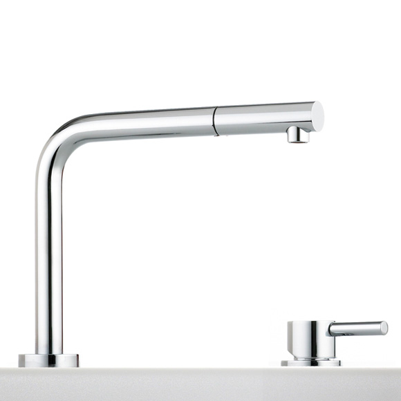 Franke Active Window retractable kitchen fitting with pull-out spout chrome