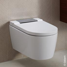 Geberit AquaClean Sela wall-mounted complete shower toilet system, with toilet seat white/chrome high gloss