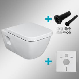 Geberit Renova Plan & Tellkamp Premium 2000 rimless toilet set with installation set: toilet with KeraTect, toilet seat with soft-close