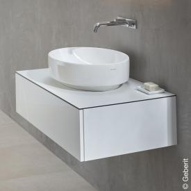 Geberit VariForm Meuble sous-lavabo pour lavabo à poser avec 1 tiroir Façade blanc ultra brillant/corps du meuble blanc ultra brillant